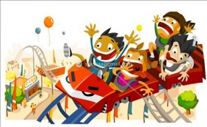 Fun with Roller Coaster. White copy space on top, very detailed illustration,