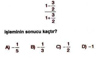 7 Sınıf Matematik Rasyonel Sayılarla Işlemler Testleri