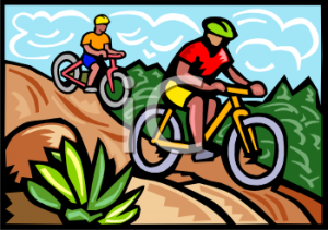 0511-1007-0302-0946_People_Riding_Mountain_Bikes_Down_a_Hill_clipart_image