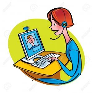 11852398-Internet-Chat-Communication-computer-web-camera-talk-online-boy-girl-Stock-Vector