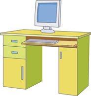 Computer Desk with Monitor clipart