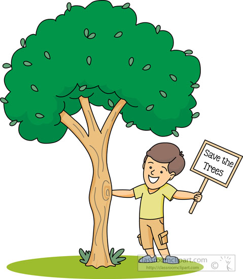 holding save a tree sign clipart